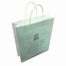 Saco de compras de papel Kraft branco com logotipo