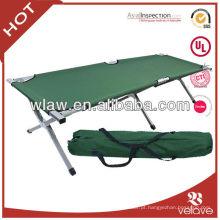 cama de acampamento de dobramento de alumínio de pouco peso