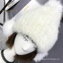 Fábrica atacado inverno real mink pele de malha cashmere chapéu pompom