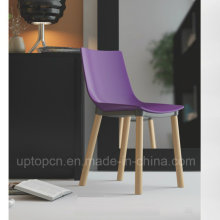 Plastic Chair with Beech Wood Leg for Fast-Food Restaurant (SP-UC496)