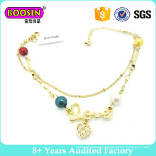 Gold Plating Fashion Charm Bracelet with Pendant