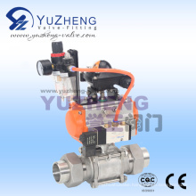 3 Piece Weld Union End Ball Valve with Pneumatic Actuator