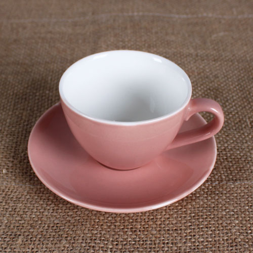 3 oz cup and saucer with red outsdie and white inside