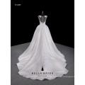 2017 nuevo vestido de boda del vestido de bola del cordón de la manga del casquillo del vestido de boda de la llegada con el escote del retrato