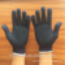 Gants de travail tricotés en coton noir ou bleu avec des points en PVC sur la paume