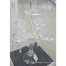 Bougeoir en verre transparent pour décoration avec cinq affiches