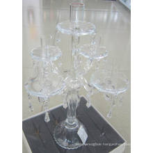 Clear Glass Candle Holder for Decoration with Five Posters