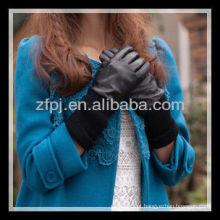 Moda senhora malha cuff luva de couro palma