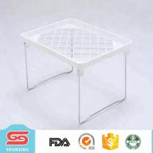 Лучший продавец прочный пластик белый кухня складной полкой для хранения