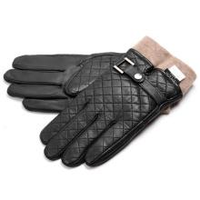 Men′s Fashion Cashmere Lining Goatskin Leather Winter Warm Gloves (YKY5194B)