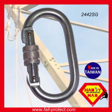 Fall Arrest Manufacturers Screw Lock 25kN Galvanized Steel Oval Carabiner