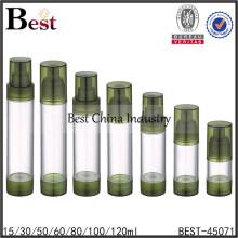 Botella airless cosmética de la bomba del color verde 80ml