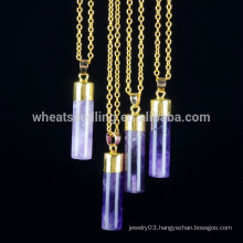 5 colors bar pendant necklace, natural stone gold chain pendant necklace
