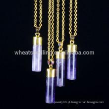5 cores colar de pingente de barra, pedra natural colar de pingente de corrente de ouro