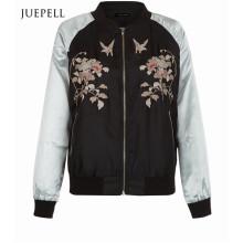 Black Floral Print Bomber Women Jacket