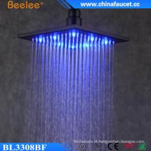 9mm chuva queda água poupança preto pintado LED top chuveiro