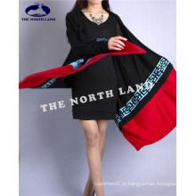 Cashmere Knitted Cardigan Shawl com elementos tradicionais
