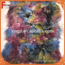 Plaque de fourrure d'agneau mongole bouclés longs cheveux