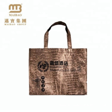 Custom Printing Durable Handled Easy Carry Shiny Laminated Luxury Hotel Non Woven Bag For Gift Package