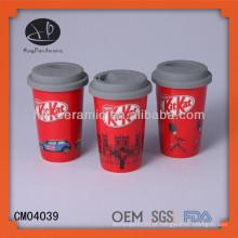 Caneca de viagem de café Nestle tampa de silicone wit, caneca de cerâmica com tampa e design, copo de porcelana com tampa de silicone