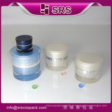 Recipiente plástico e recipientes plásticos redondos e cuidado de pele Recipientes plásticos claros da amostra da forma redonda de Acylic