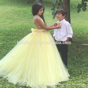 2017 Yellow Flower Tulle Puffy A Line Long Length Ball Gown Party Princess Dress Girl for Wedding