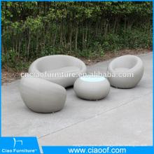 Novo produto de móveis de couro ao ar livre rodada conjunto de sofá