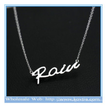 Trendy 925 silver personalized letters fashion thin chains sexy pendant necklace
