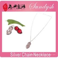 Moda jóias romance pingente de amendoim 925 colar de prata presente