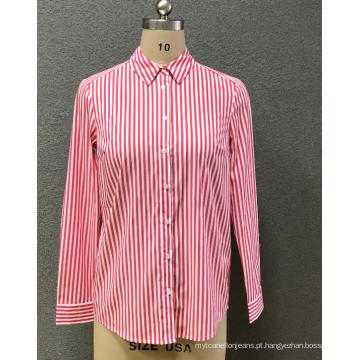 camisa listra vermelha das mulheres