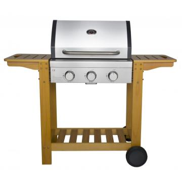 3 Burner Trolley BBQ Grill with Wooden Shelf