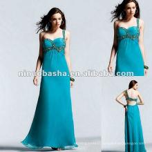 Floor Length Silky Beaded One Shoulder Chiffon Evening Dress