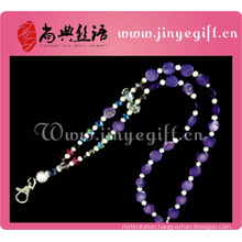Unique Handmade Crystal Purple Shell Beaded Lanyard Strap