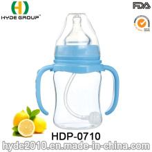 Biberon en plastique sans BPA portatif de bébé de 150ml (HDP-0710)