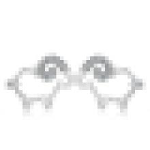 Women′s Cute 925 Sterling Silver Inlay Crystal Sheep-Shaped Earrings