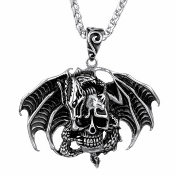 Crâne Death Head Bat Wing Pendant Hommes