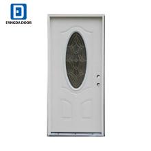 пенополиуретан впрыскивается декоративные inswing стальная дверь со стеклянной вставкой