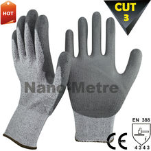 NMSAFETY Cheapest PU coated glove with cut level 3 EN388 4343