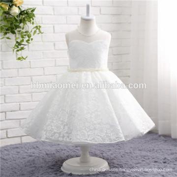 2017 white color simple design western wear one pcs girl dress kids wear lace wedding dress for girls