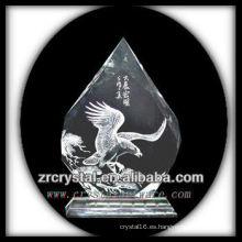 K9 Huecograbado de cristal hecho a mano con águila