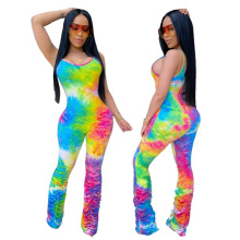 2020 summer  hot sale women's new tie-dye sling hip  pile jumpsuit outfits