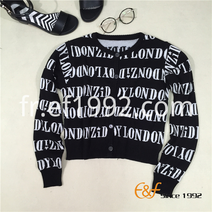 Two-color Jacquard Cardigan Sweater for Women