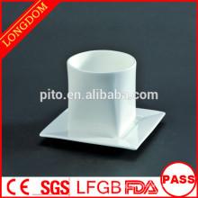 2014 hot sale square porcelain tea cup and sauce