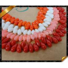 Perles de corail naturelles en larme, Collier en pierre de mode Collier en corail (GB0129)