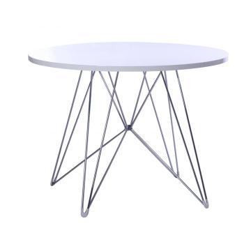 Table à manger ronde en bois avec base en fil de fer
