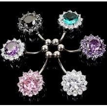 Korean Fashion Titanium Silver Plated CZ Stone Piercing Fashion Jewellery