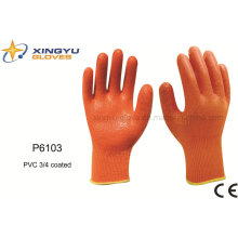 Polyester Shell PVC 3/4 Coated Safety Work Glove (P6103)