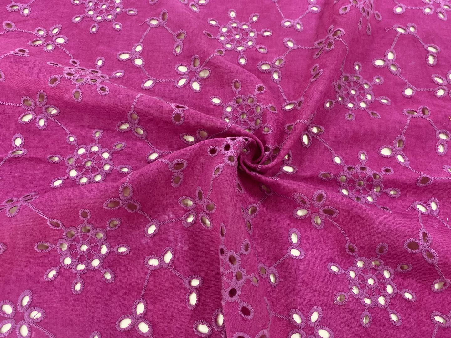 Fuschia Cotton Eyelet Embroidery FabricFuschia Cotton Eyelet Embroidery Fabric