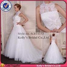 Halter laço de pescoço de colar alto com tecido flores artesanais e vestidos de casamento de pena