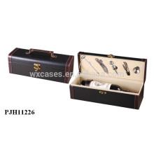 caja de cuero del vino de lujo de alta calidad para botella individual por mayor fabricante